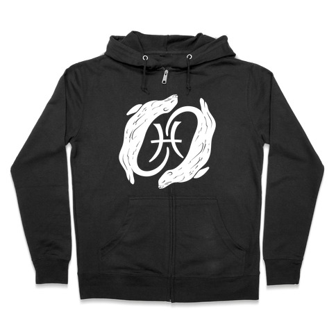 Otterly Emotional Pisces White Print Zip Hoodie