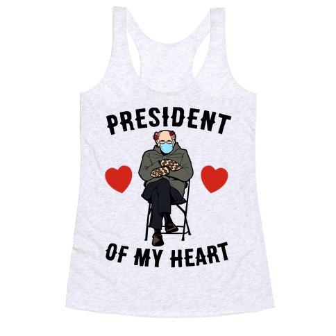 Mitten Bernie: President Of My Heart  Racerback Tank Top