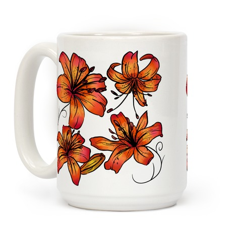 Sunset Tiger Lillies Pattern Coffee Mug