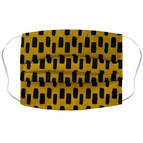 Organic Rectangle Pattern Mustard yellow Accordion Face Mask