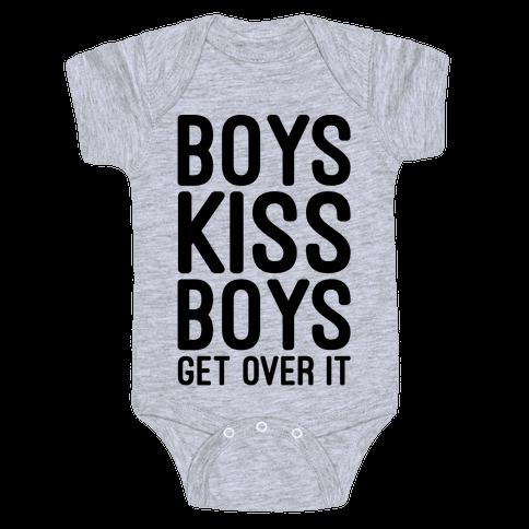 Boys Kiss Boys Get Over It Baby Onesy