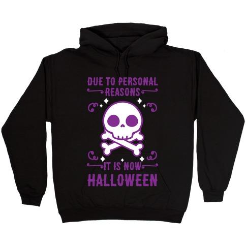 Due To Personal Reasons It Is Now Halloween Skull (Purple) Hooded Sweatshirt