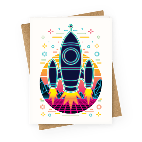 Synthwave Space Exploration Greeting Card