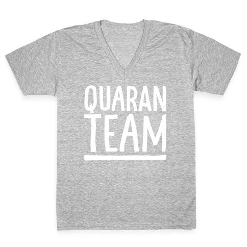 Quaranteam White Print V-Neck Tee Shirt