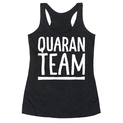 Quaranteam White Print Racerback Tank Top