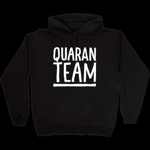 Quaranteam White Print Hooded Sweatshirt