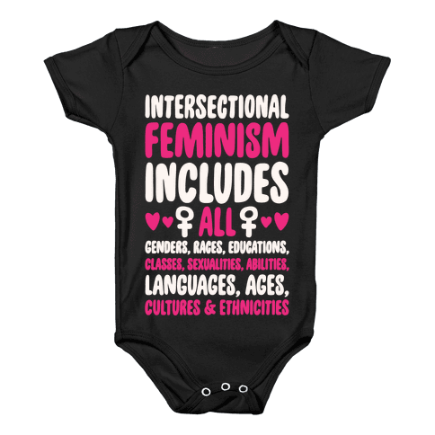 Intersectional Feminism White Print Baby Onesy