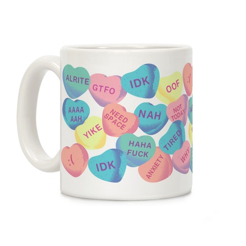Awkward Candy Hearts Coffee Mug