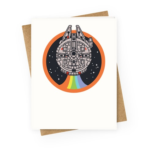 Retro Rainbow Falcon Greeting Card
