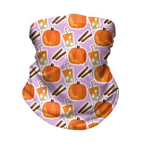 Pumpkin Spice Iced Coffee Pattern Neck Gaiter