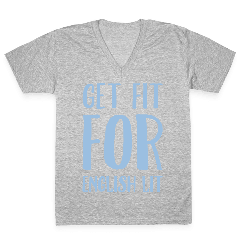 Get Fit For English Lit White Print V-Neck Tee Shirt