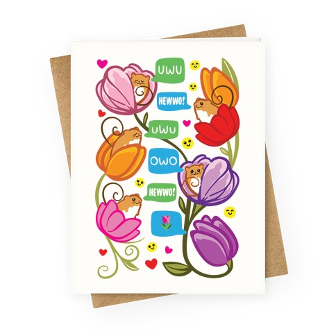 Harvest Mice Emoji Floral Pattern Greeting Card