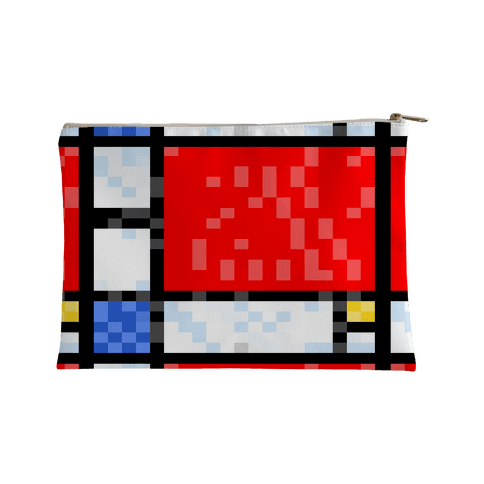 Pixelated Composition With Red Blue And Yellow Accessory Bag