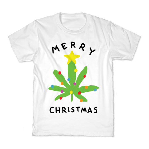 Merry Christmas Pot Leaf Kids T-Shirt
