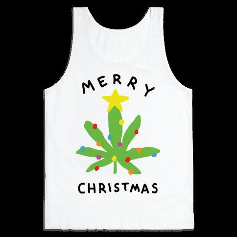 Merry Christmas Pot Leaf Tank Top
