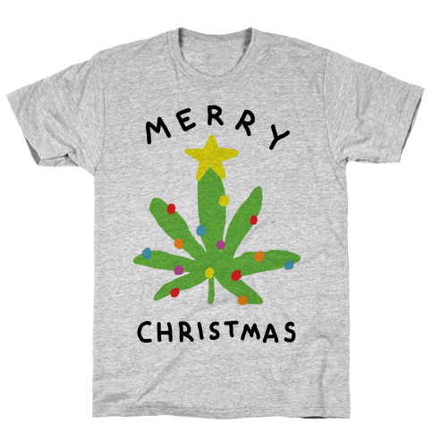 Merry Christmas Pot Leaf Mens T-Shirt