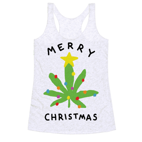 Merry Christmas Pot Leaf Racerback Tank Top