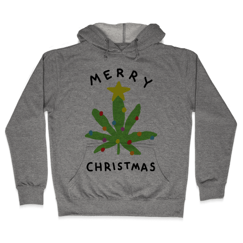Merry Christmas Pot Leaf Hooded Sweatshirt