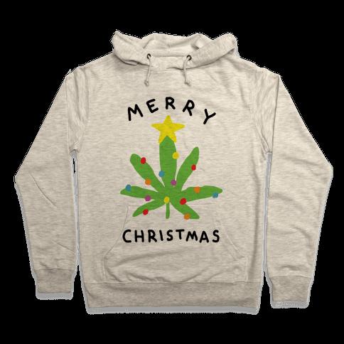 Merry Christmas Pot Leaf Hooded Sweatshirt