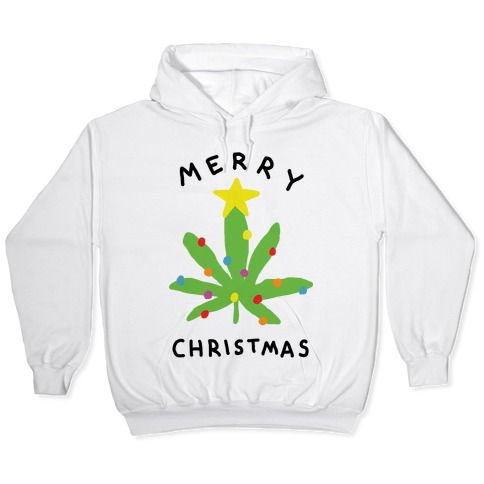 Off White Christmas Hoodie.Merry Christmas Pot Leaf Hoodie Lookhuman