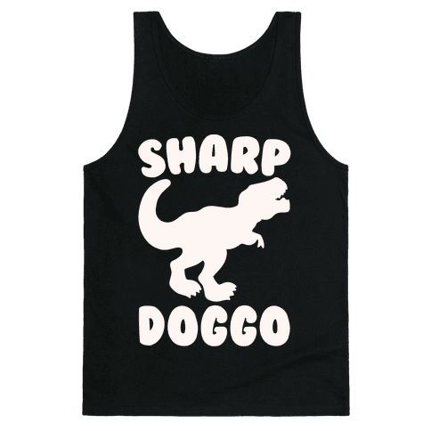 Sharp Doggo White Print Tank Top