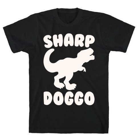Sharp Doggo White Print Mens T-Shirt