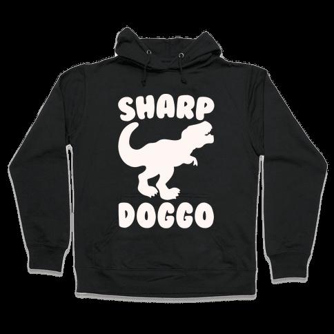 Sharp Doggo White Print Hooded Sweatshirt