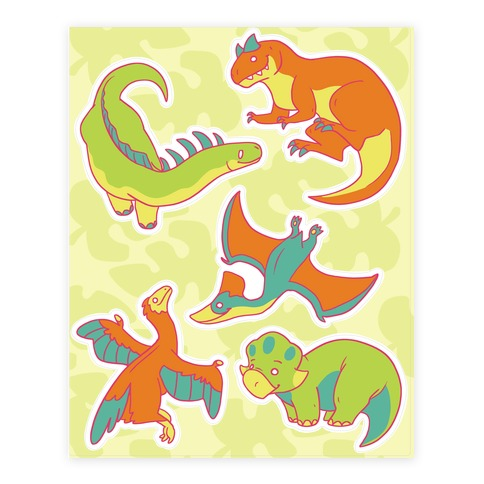 Funky Dinosaur Friends  Sticker/Decal Sheet