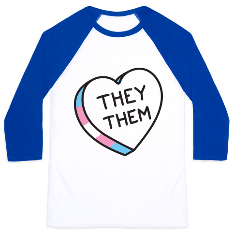 They Them Candy Heart Baseball Tee