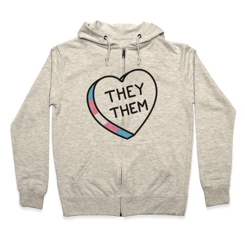 They Them Candy Heart Zip Hoodie