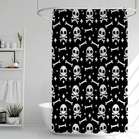 Cute Skull N' Bones Pattern (Black) Shower Curtain