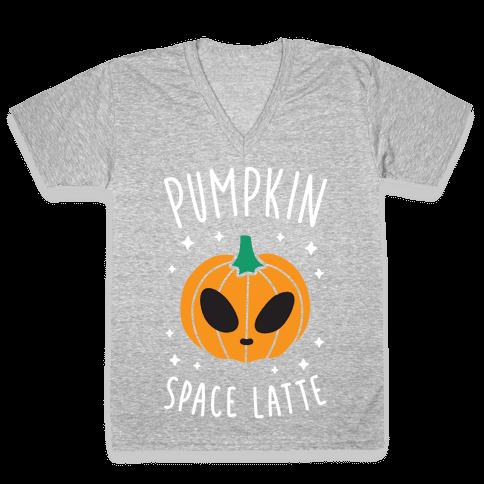 Pumpkin Space Latte (White) V-Neck Tee Shirt
