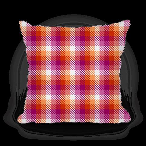 Lesbian Pride Flag Plaid Pillow