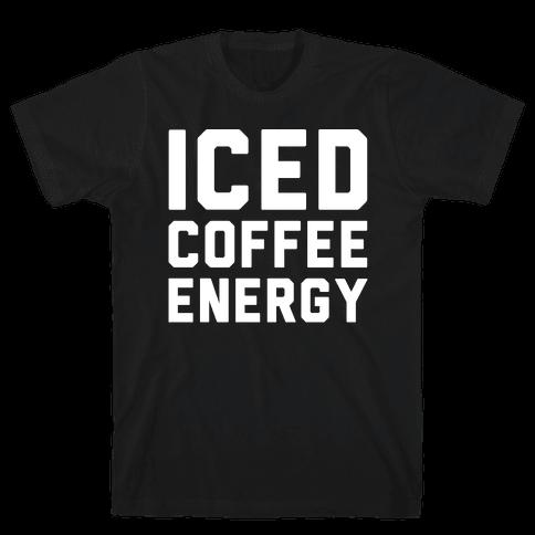 Iced Coffee Energy White Print Mens T-Shirt