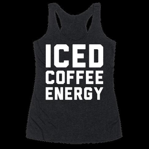 Iced Coffee Energy White Print Racerback Tank Top