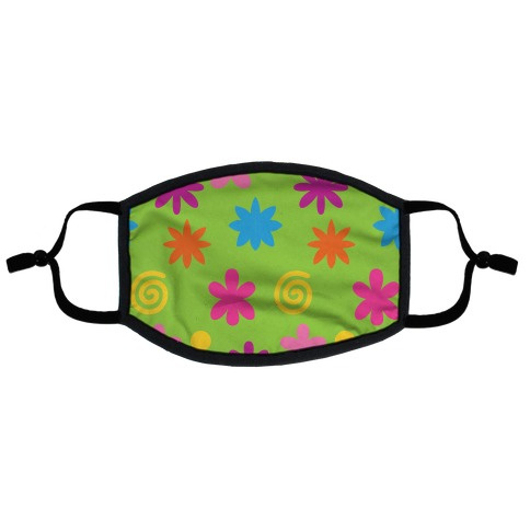 2000's Funky Flower Pattern Flat Face Mask