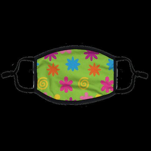 2000's Funky Flower Pattern Flat Face Mask