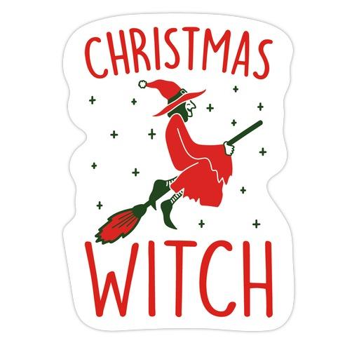 Christmas Witch Die Cut Sticker
