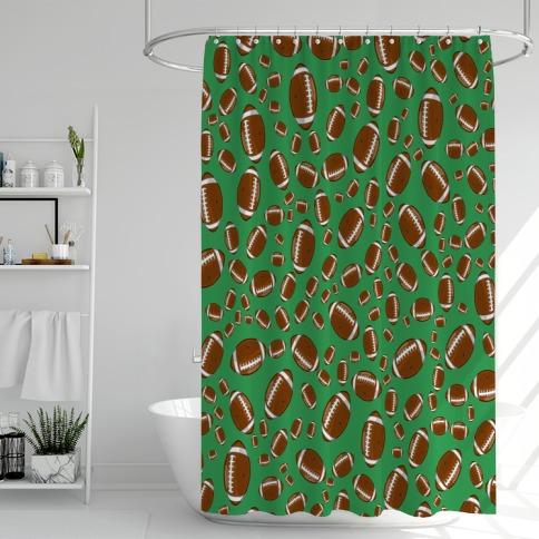 Footballs Pattern Shower Curtain