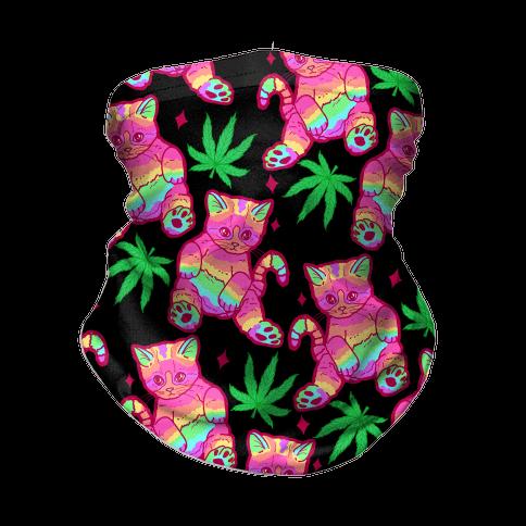 Rainbow Weed Kitty Neck Gaiter