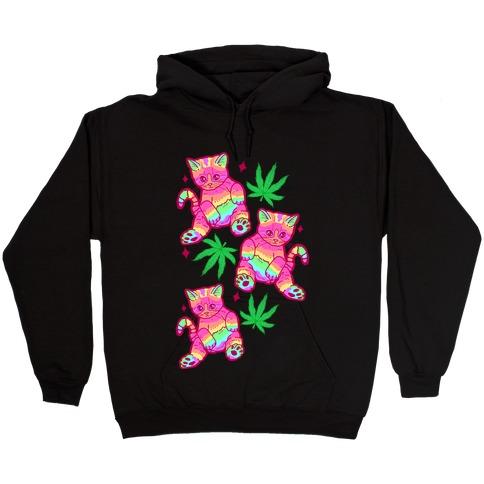 Rainbow Weed Kitty Hooded Sweatshirt