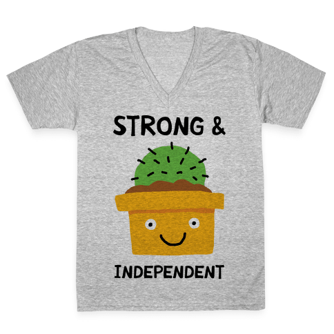 Strong And Independent Cactus V-Neck Tee Shirt