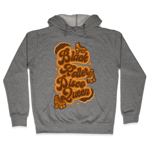 Black Roller Disco Queen Brown Hooded Sweatshirt