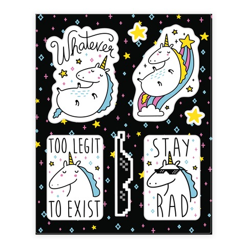 Rad Unicorns Sticker and Decal Sheet
