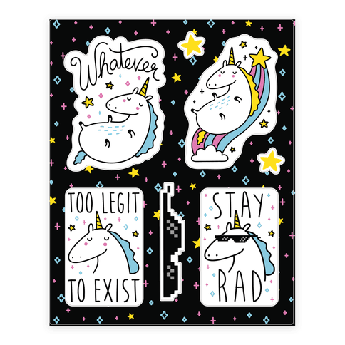 Rad Unicorns Sticker/Decal Sheet