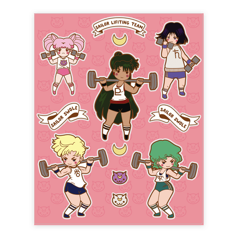 Outer Senshi Lifting Team Sticker and Decal Sheet