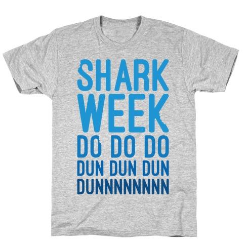 Shark Week Do Do Do Dun Dun Dun Jaws Parody White Print T-Shirt