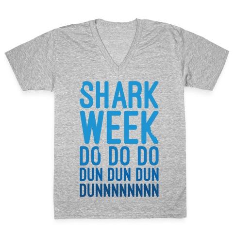 Shark Week Do Do Do Dun Dun Dun Jaws Parody White Print V-Neck Tee Shirt