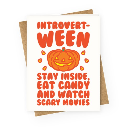 Introvert-ween Introverted Halloween Mashup Parody Greeting Card