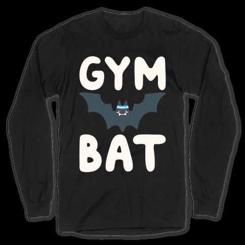 Gym Bat White Print Long Sleeve T-Shirt